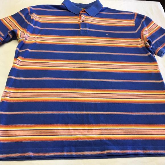 efb91f92 Tommy Hilfiger Shirts | Polo Orange Blue Striped Xl Euc | Poshmark